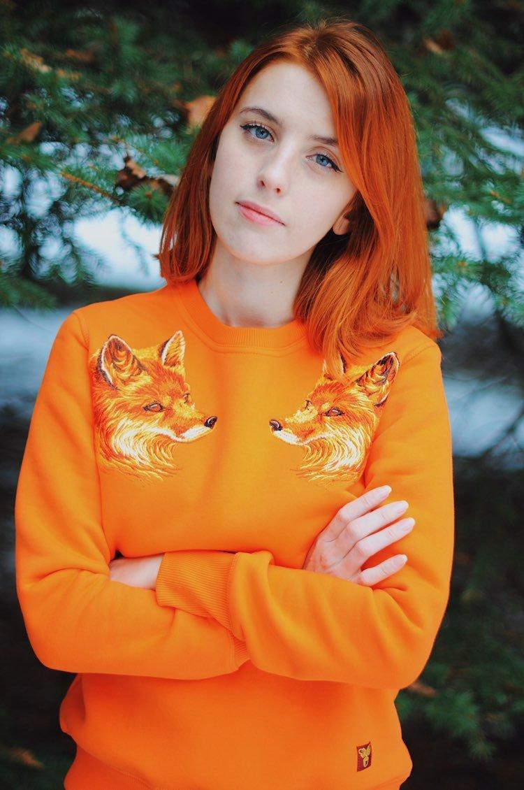 """Світшот жаночы """"Ліса"""" Orange"""
