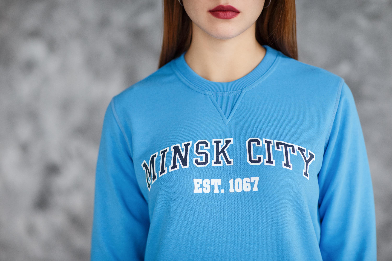 """Світшот жаночы """"Minsk City"""" Блакітны"""
